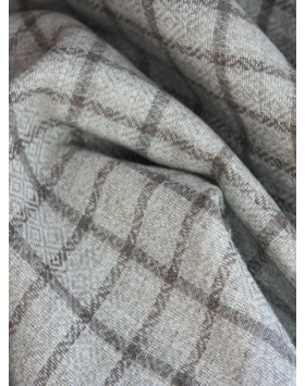 Natural Beige Check Cashmere Stole