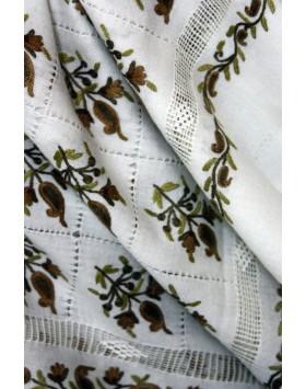 Olive paisley macrame Ivory Shawl