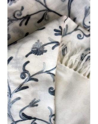 Camellia Ivory Kashmir Shawl