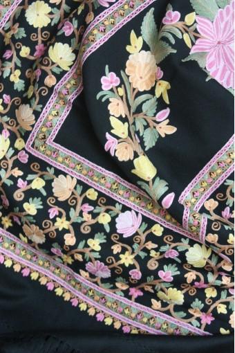 Pink Shalimar ebony Kashmir shawl